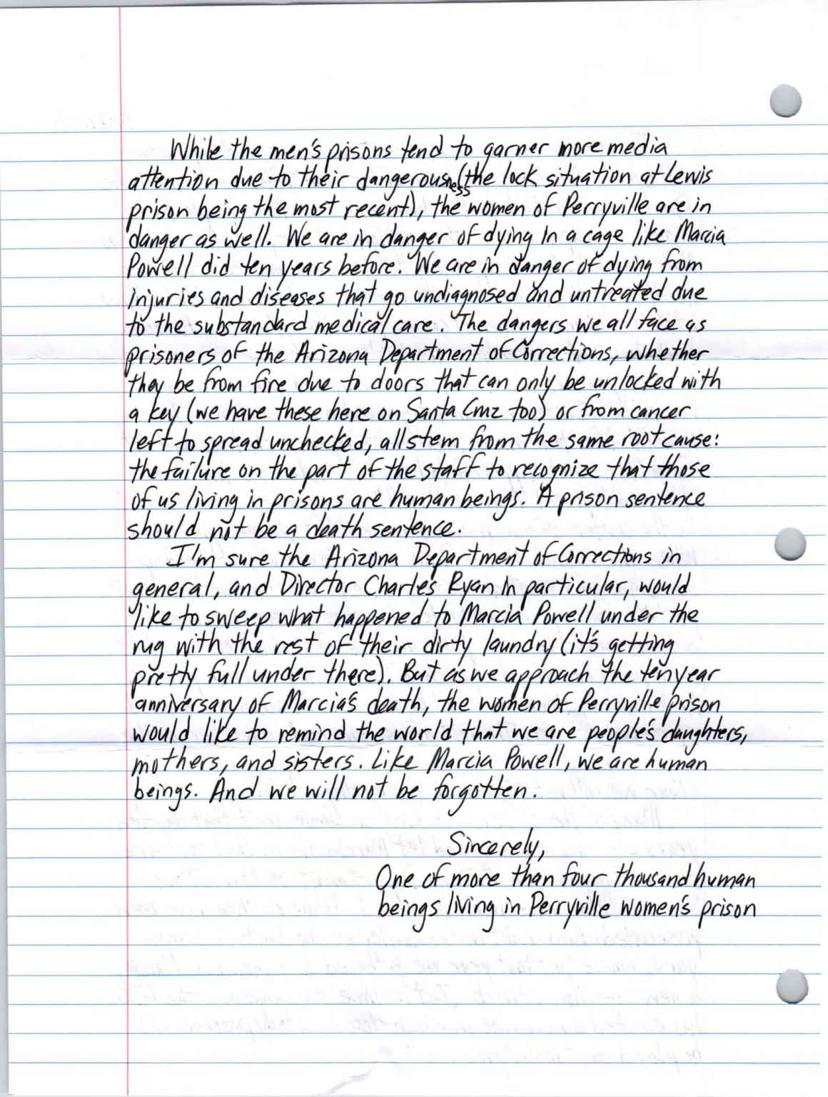 A Letter from Perryville Prison | ACLU of Arizona